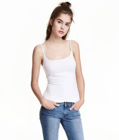 Long Jersey Camisole Top | White | Ladies | H&M US