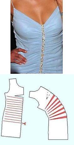 Como cortar um tecido para obter vestido ou blusa com drapeado na costura central.