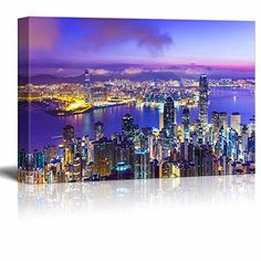 Wall26 Canvas Prints Wall Art  Hong Kong Skyline at Dawn  24 x 36 -- Click image for more details.Note:It is affiliate link to Amazon.