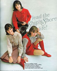 Ship 'n Shore clothing ad from 'Seventeen' magazine, Sept. 1964, with models Jennifer O'Neill, Colleen Corby, and Kiki Olsen, by AngoraSox via Flickr