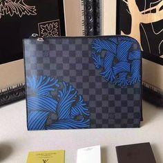 3539a6608 Louis Vuitton Damier Graphite Canvas Rope Pochette Jour GM Bag Blue 2016