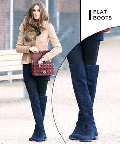 Flat Boots We Wish Were In Our Closet --  Blue Suede Boots Olivia Palermo has worn a ton of boot styles we wouldn't mind copying. One of our favorite looks remains this blue suede pair  she wore a few seasons back.