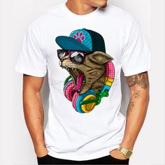 2018 New Arrival Men's Fashion Crazy DJ Cat Design T shirt Cool Tops S – geekbuyig Funny Tee Shirts, Cat Shirts, Design T Shirt, Shirt Designs, T-shirt Hippie, T Shirt Top, Shirt Men, Dog Shirt, Streetwear