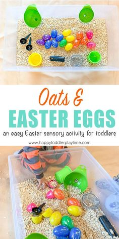 Oats & Easter Eggs Sensory Bin - HAPPY TODDLER PLAYTIME