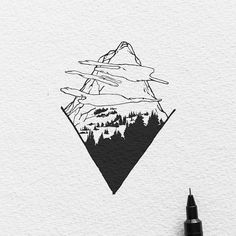 The Cloudy Peak - Blackwork Series. Original artwork is available email or DM for infos :) #ariarosso #illustration #sketch #drawing #tattoo