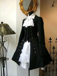 Black Designer Mid-Thigh Coat   Steampunk   Victorian   Goth   Elegant