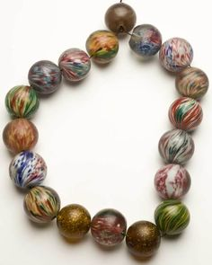 "Lauscha Marble beads. Very large German Marble beads found in Africa made in Lauscha Germany circa 1850-? (some""onion skin types included) 35mm to 44mm Posted by Thomas Stricker"