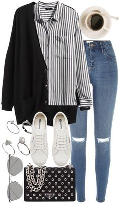 A fashion look from August 2016 featuring striped shirt, v neck tops and ripped jeans. Browse and shop related looks. Look Fashion, Hijab Fashion, Korean Fashion, Autumn Fashion, Fashion Outfits, Fashion Tips, Fashion Hacks, Fashion Bloggers, Fashion Trends