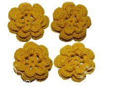 3-D+Häkelblume+♥+EINE+gelbe+Blume+♥+von+Angelas+Teddywelt++auf+DaWanda.com