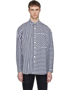 Sunnei for Men Collection Mens Designer Shirts, Stripped Shirt, Creative Shirts, Navy And White, Shirt Style, Shirt Designs, Men Casual, Menswear, Men's Shorts