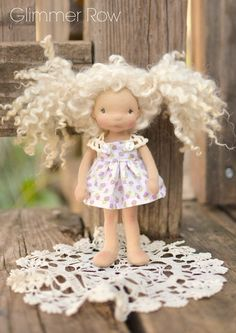"""Demi"", 6"" tall, natural, waldorf inspired, cloth doll by Glimmer Row"