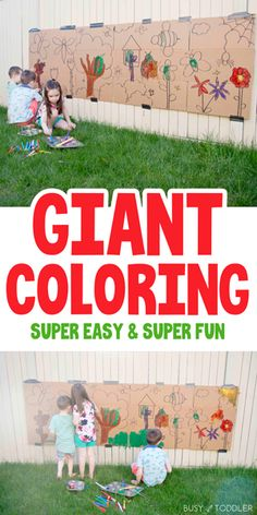 Giant Painting Outdoor Art Project Outdoor Activities For Toddlers, School Age Activities, Babysitting Activities, Nature Activities, Art Therapy Activities, Infant Activities, Summer Activities For Kids, Outdoor Toddler Activities, Toddler Painting Activities