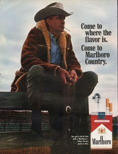 "1967 MARLBORO CIGARETTES vintage magazine advertisement ""where the flavor is"" ~ Come to where the flavor is.  Come to Marlboro Country. ~"