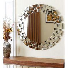Give your workplace or home decor a chic feel with this glass round wall mirror from Abbyson Living. Constructed of glass and wood with a silver color, this product can be dusted and wiped clean with glass cleaner. This mirror offers unique style. Fancy Mirrors, Oversized Wall Mirrors, Rustic Wall Mirrors, Round Wall Mirror, Circle Mirrors, Decorative Mirrors, Table Mirror, Mirror Mirror, Mirror Decor Living Room