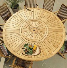 Table ronde teck massif avec plateau tournant, d 150 ou 180 cm ...
