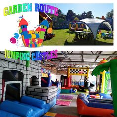 Garden Route Jumping Castles hire out reliable well maintained inflatables softplay candyfloss machines bubble machines snow machines faceboards Kidiesadult tables and ch.