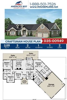 Introducing Plan 035-00949, a beautiful Craftsman design featured by 2,511 sq. ft., 3 bedrooms, 2.5 bathrooms, a breakfast nook, a bonus room, and an open floor plan. Find more information about our Craftsman designs on our website. #craftsman #homeplans #buildingadream Craftsman Style Homes, Craftsman House Plans, Cost To Build, Construction Drawings, Floor Framing, Best House Plans, Architectural Elements, Breakfast Nook, Open Floor