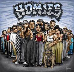 ♥ The Homies Gang ♥ Artist David Gonzales Chicano Love, Chicano Art, Dope Cartoons, Dope Cartoon Art, David Gonzalez, Chola Girl, Mexican Art Tattoos, Cholo Art, Cholo Style