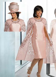 Donna Vinci 5627 Womens Two Piece Dress Set With Lacy Cape Style Jacket Outfits With Hats, Chic Outfits, Dress Outfits, Mother Of Bride Outfits, Mothers Dresses, Church Suits And Hats, Church Dresses, Church Attire, Bodycon Dress Formal