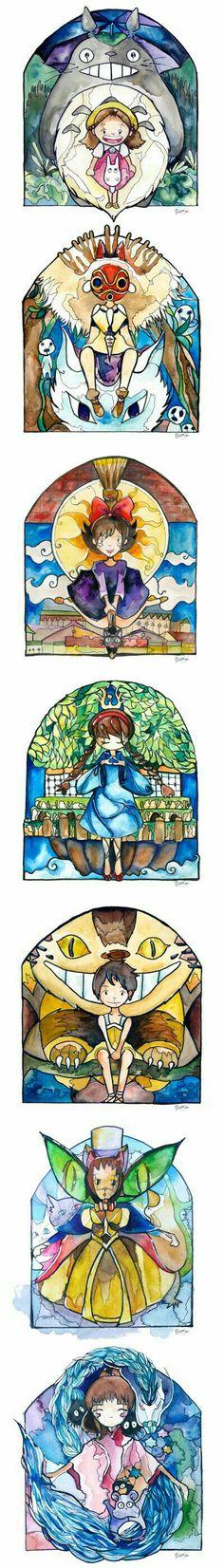 My Neighbor Totoro, Princess Mononoke, Kiki's Delivery Service, Castle in the Sky, The Cat Returns, Spirited Away, glass, art, windows; Studio Ghibli