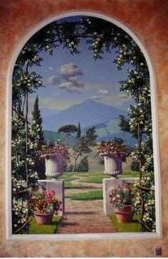 Beautiful painted mural of a window Murals Street Art, Ceiling Murals, Mural Wall Art, Faux Painting, Mural Painting, Paintings, Lavender Decor, Beautiful Wall, Art Decor