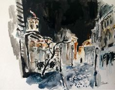 Have Watercolors Will Travel: Bucharest at Night