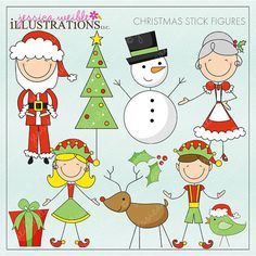 Christmas Stick Figures Cute Digital Clipart for Card Design, Scrapbooking, and Web Design on Etsy, $5.00