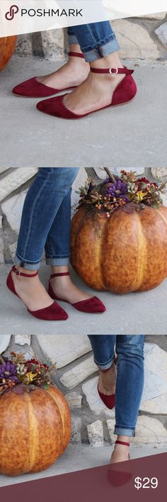 Ankle Strap Suede Pointy Toe Heels Brand New In Box All Vegan MaterialsDark Burgundy RedTrue To SizeAdjustable Ankle StrapFeel Free To Ask Question!www.thefairyden.com Shoes Flats & Loafers