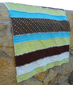 Aqua, Brown, Green 100% Cotton Flannel Rag Quilt