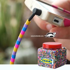 Earbuds deacorated with PYSSLA beads