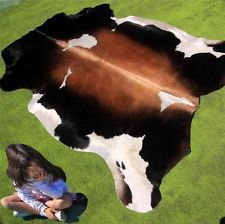 New Cowhide Rug Cowskin Mad Cow Town Hide Skin Leather Bull Carpet Throw C57