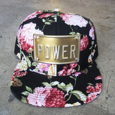 FLOWER POWER or LOVE metal plate snapback hat by rojasclothing, you can custom your own word too.,,,,$40.00