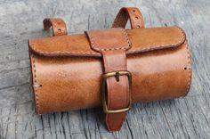 Handmade Bicycle Leather Tool Bag Saddle Bag Seat Bag Thick Natural VEG Tan | eBay