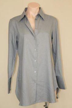 NEW Nordstrom Pure Amici Minimalist Blue Gray Linen Rayon Tunic Top Shirt sz S M #PureAmici #ButtonDownShirt