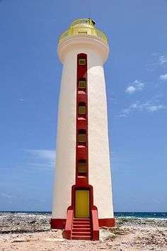Lacre Punt Light (Willems Toren), Island of Bonaire, Netherland Antilles Lighthouse Lighting, Lighthouse Pictures, Light In, Beacon Of Light, Castle, Around The Worlds, Boat, Lighthouses, Travel