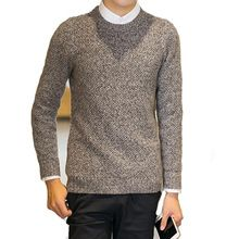 men's sweater pullover autumn o-neck korean men's black casual winter sweaters outerwear knit mens christmas sweater warm grey(China (Mainland))