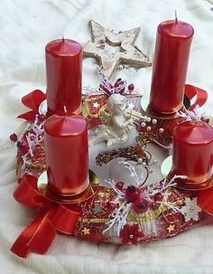 IsaBELLEdecor / červený adventný veniec s anjelikom