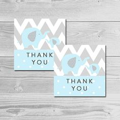 Blue and Gray Elephant Baby Shower  Thank by dearbabyprintables