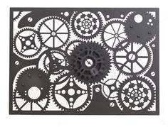 Entanglements Laser Cut Metal Art, Clockwork design