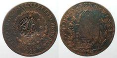 1835 Brasilien BRAZIL 40 Reis ND(1835) on 80 Reis 1828 R PEDRO I copper VF+ #…