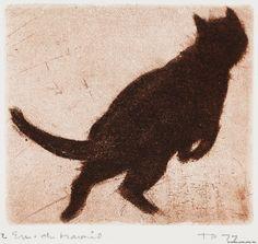Pietilä, Tuulikki Hyppäävä kissa (Psipsina 14) 1977 Tove Jansson, Warrior Cats, Source Of Inspiration, Shag Rug, Printmaking, Cool Art, Kitty, Drawings, Finland