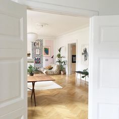 my scandinavian home: sitting room with striped wall in the lovely Danish home of artist Anne Aarsland.