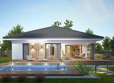 Miriam III - zdjęcie 3 Modern House Floor Plans, Modern Bungalow House, Bungalow House Plans, Contemporary House Plans, Village House Design, Kerala House Design, House Front Design, Minimal House Design, Modern Small House Design