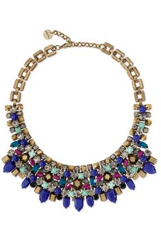 Stella & Dot Gold Kahlo Necklace | Colorful Mixed Metal Bib Necklace