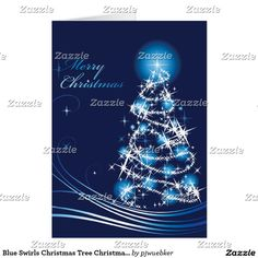 Blue Swirls Christmas Tree Christmas Card