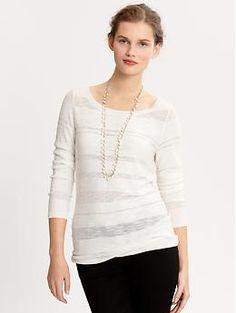 Matte sheer stripe sweater $69.50