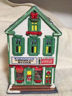 """Town Square Coca Cola Porcelain Snow House """"McMahon's General Store"""" VINTAGE"""