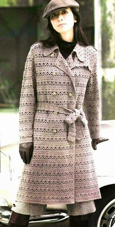 Crochet by Jane: MORE LONG COATS - Really like this stitch pattern.  Considering it for bottom of sweater....  Brown striped bodice