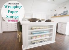 This wrapping paper storage cabinet supports the craft island, stores wrapping paper and houses power outlets on both sides. Open Cabinets, Built In Cabinets, Storage Cabinets, Kitchen Cabinets, Cabinet Trim, Cabinet Plans, Large L Shaped Desk, Wrapping Paper Storage, Wrapping Paper Station
