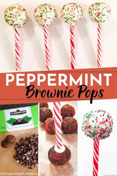 Festive, colorful and delicious, these easy to make Peppermint Brownie Pops are inexpensive DIY Christmas gifts you can give to friends and family. Learn how to make these by checking out our tutorial right here. Mini Dessert Recipes, Easy No Bake Desserts, Party Desserts, Mini Desserts, Christmas Desserts, Diy Christmas Gifts, Brownie Pops, Peppermint Brownies, Chocolate Brands